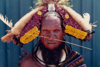 Headhunting worrior of Papua New Guinea