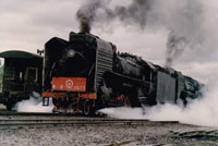 steam train near Mongolia, China